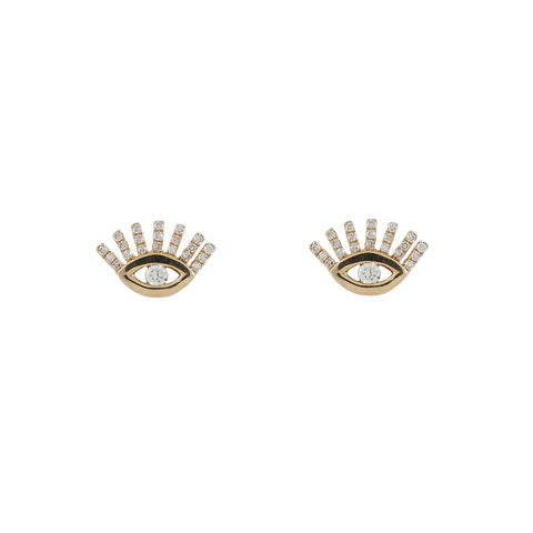 14k gold diamond evil eye with eyelash posts