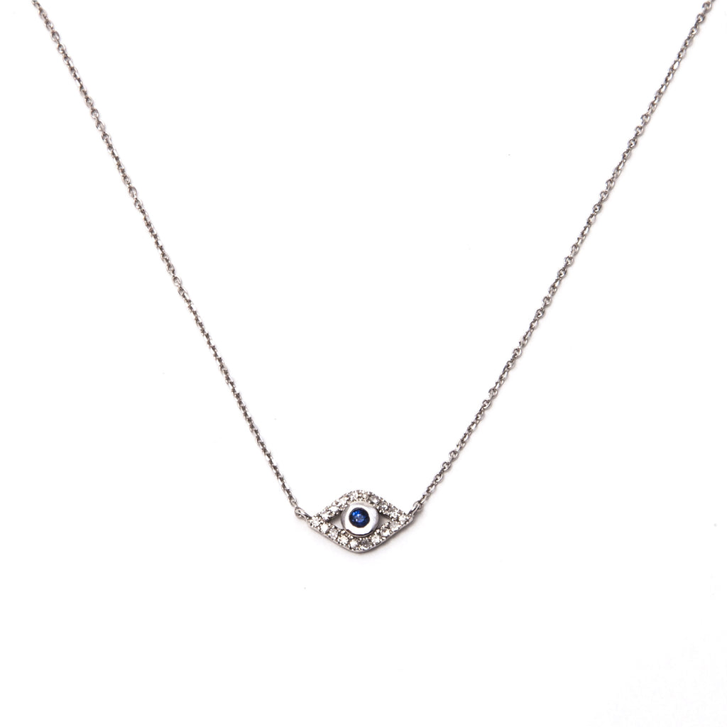 14k white gold diamond mini evil eye necklace