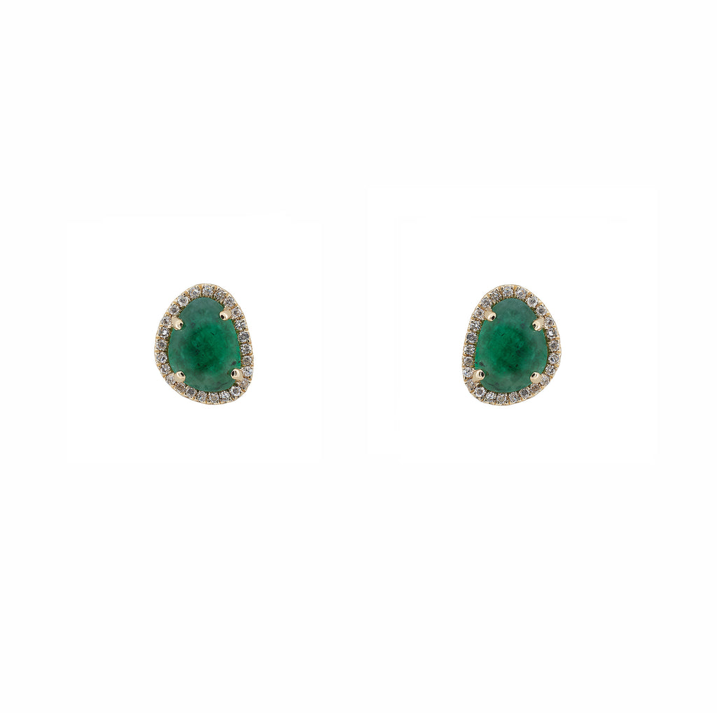 14k gold and diamond emerald organic shape studs