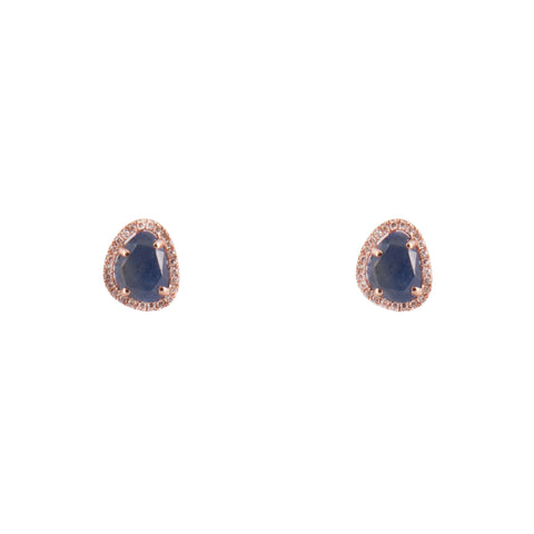 14k gold sapphire and diamond free form posts
