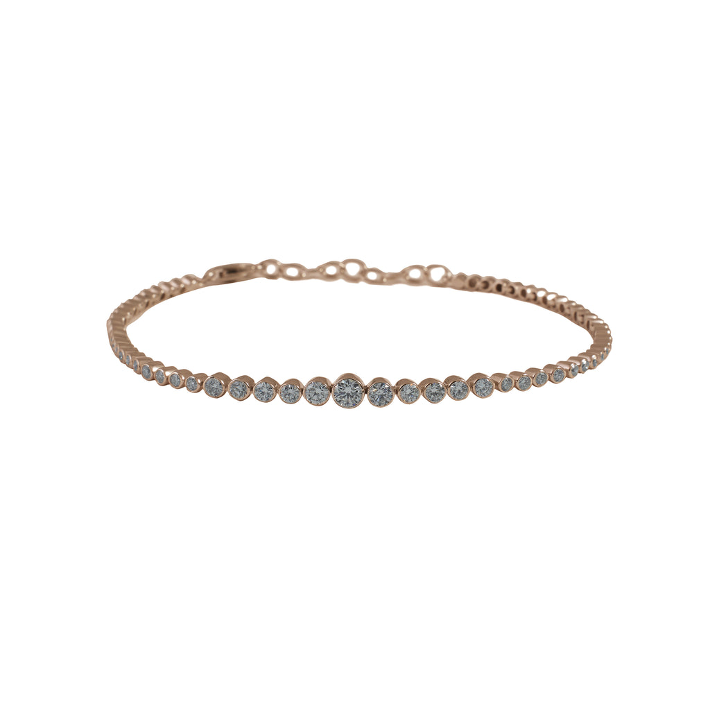 14k gold diamond bezel chain bracelet