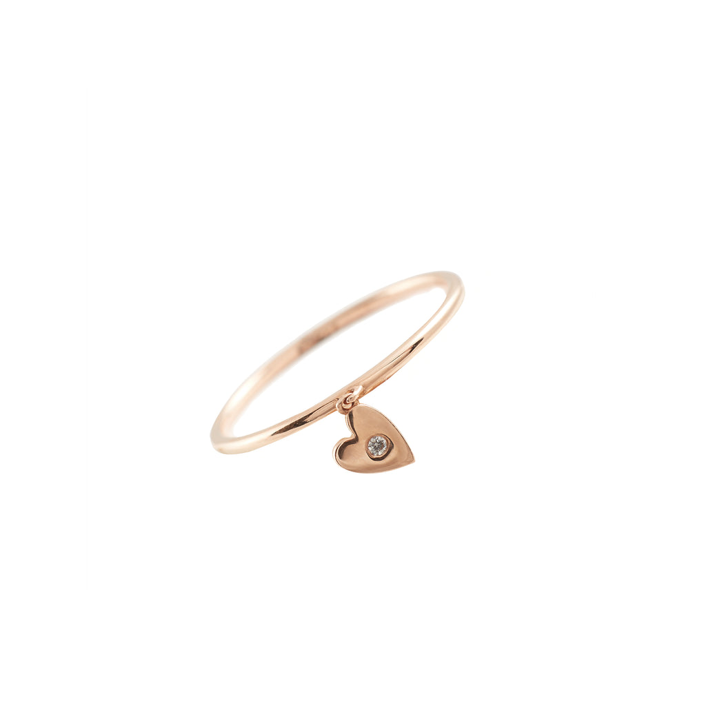 14k gold bitty diamond heart dangle ring