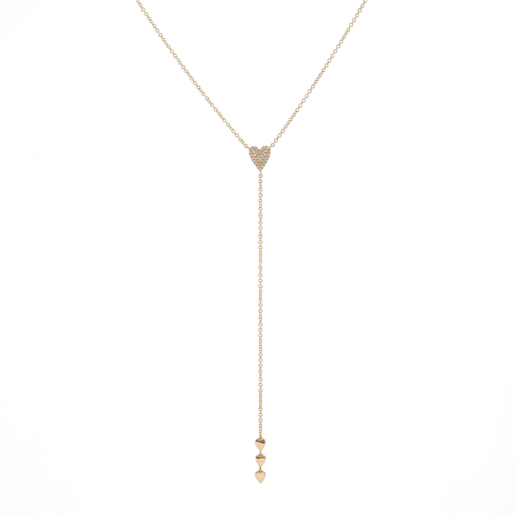 14k gold diamond heart lariat