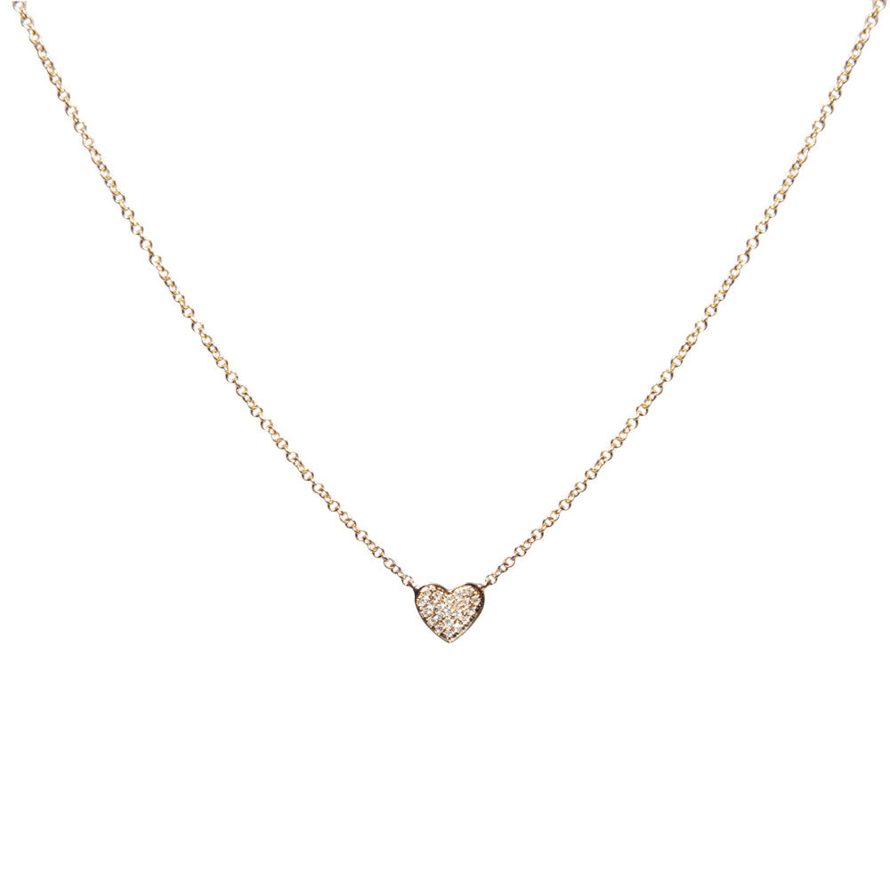 14k gold small diamond heart necklace