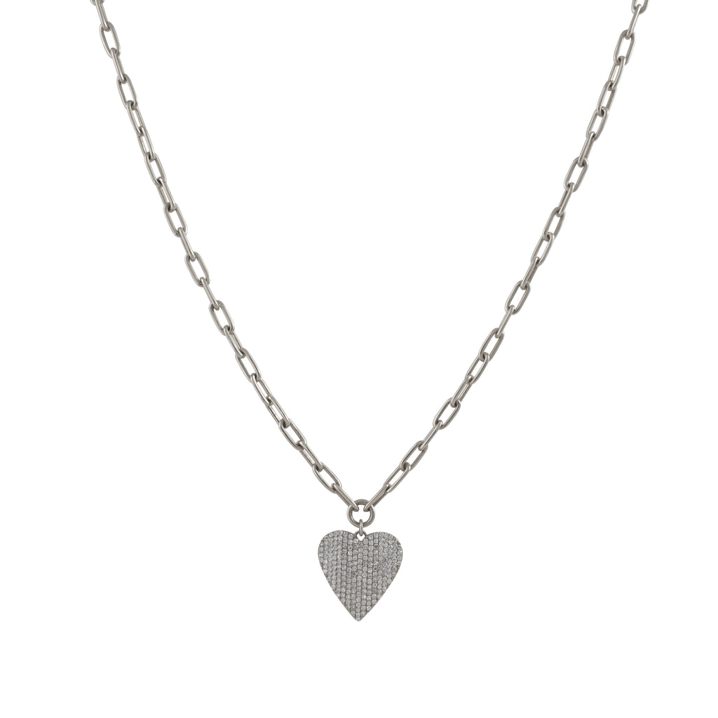 14k gold diamond pave heart necklace