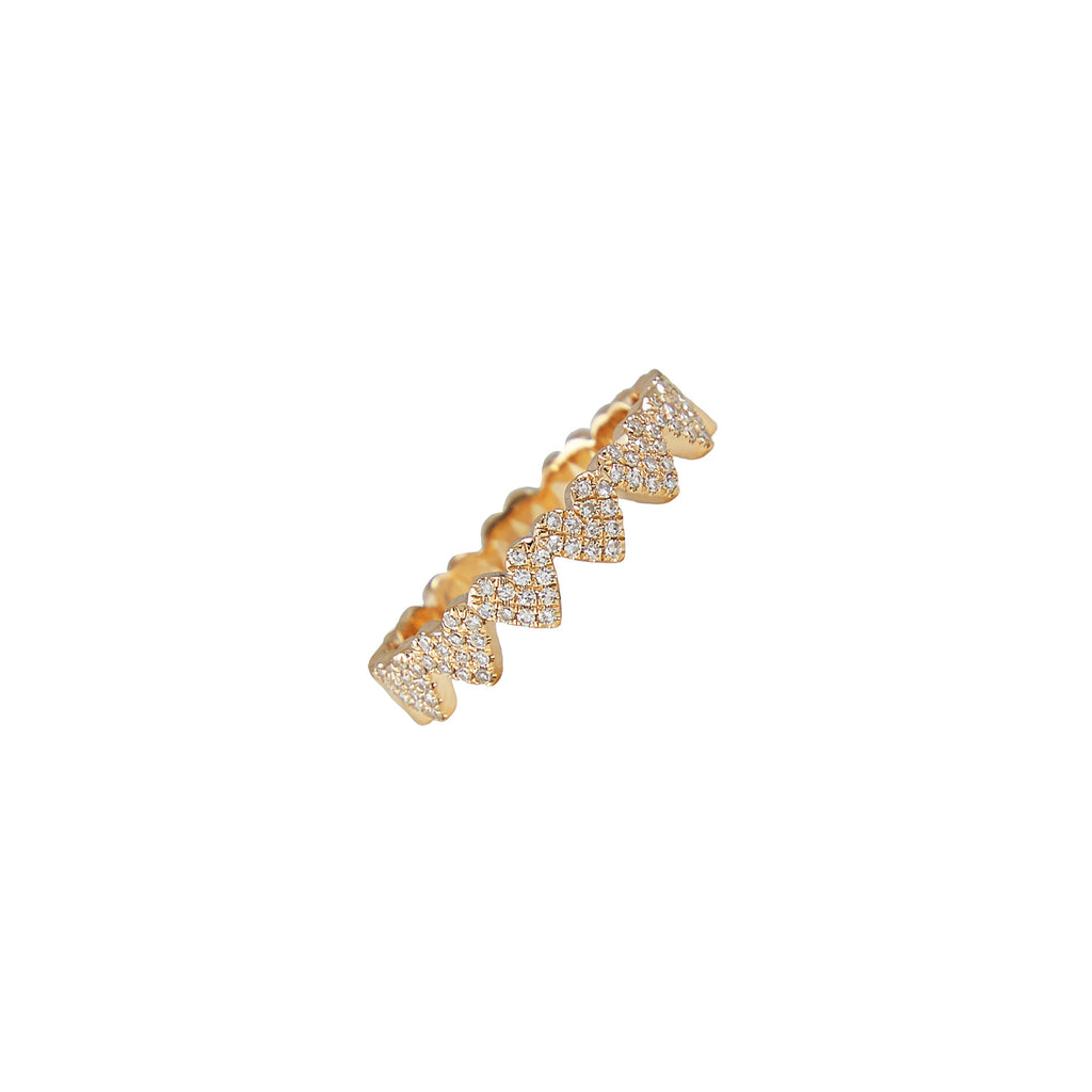 14k gold diamond heart band