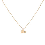 14k gold single diamond heart necklace