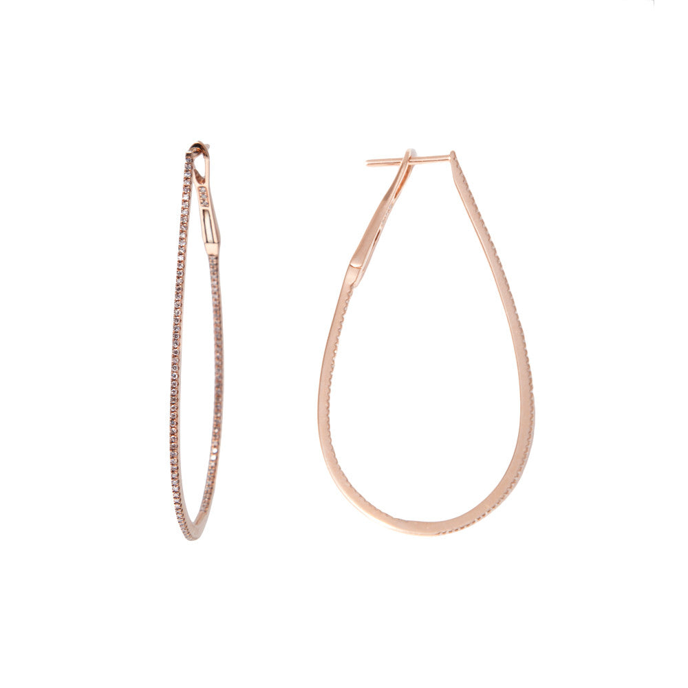 14k Rose Gold Diamond Horseshoe Hoops
