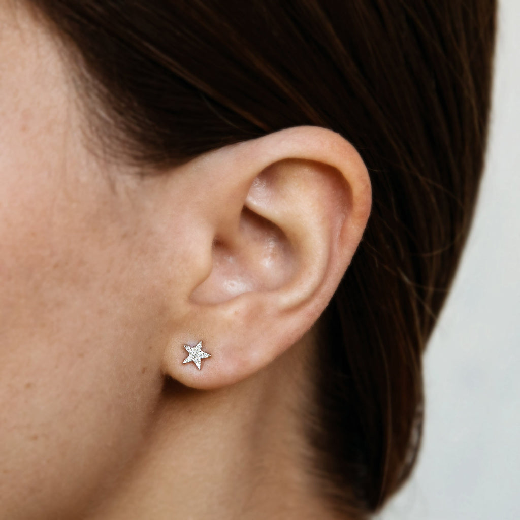 14k gold diamond bitty star studs - single