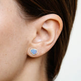 14k gold diamond and opal free form studs
