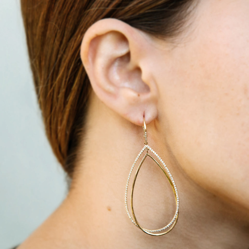14k gold double teardrop diamond earrings