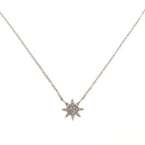 14k gold diamond starburst necklace