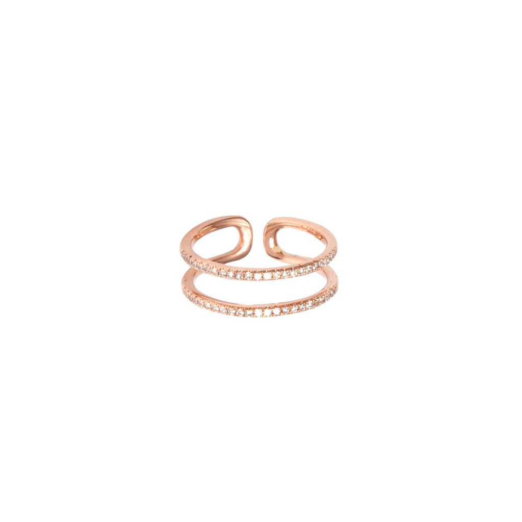 14k gold double diamond band midi ring