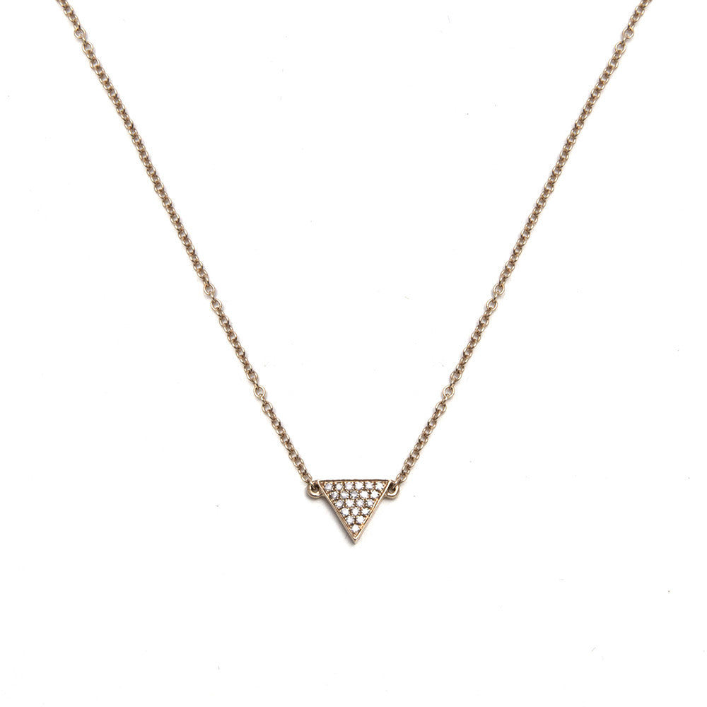 14k Gold Diamond Triangle Necklace