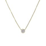 14k Gold Small Diamond Disk Necklace