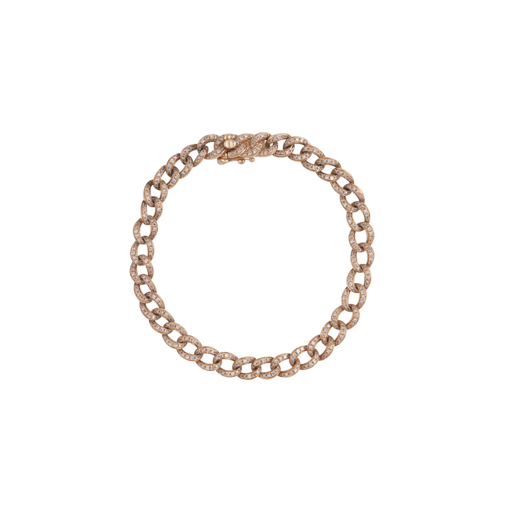14k gold and diamond chain link bracelet