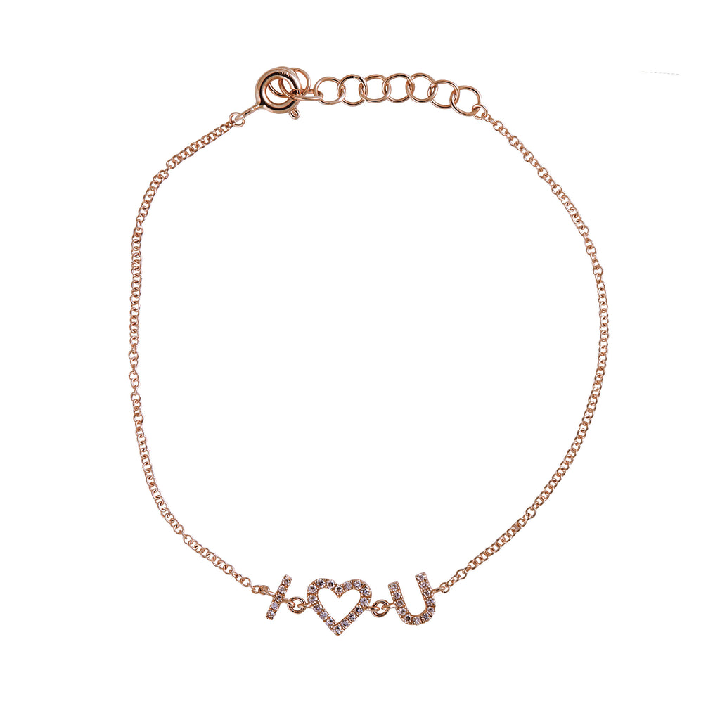 14k gold diamond I HEART U bracelet