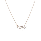 14k gold diamond I HEART U necklace
