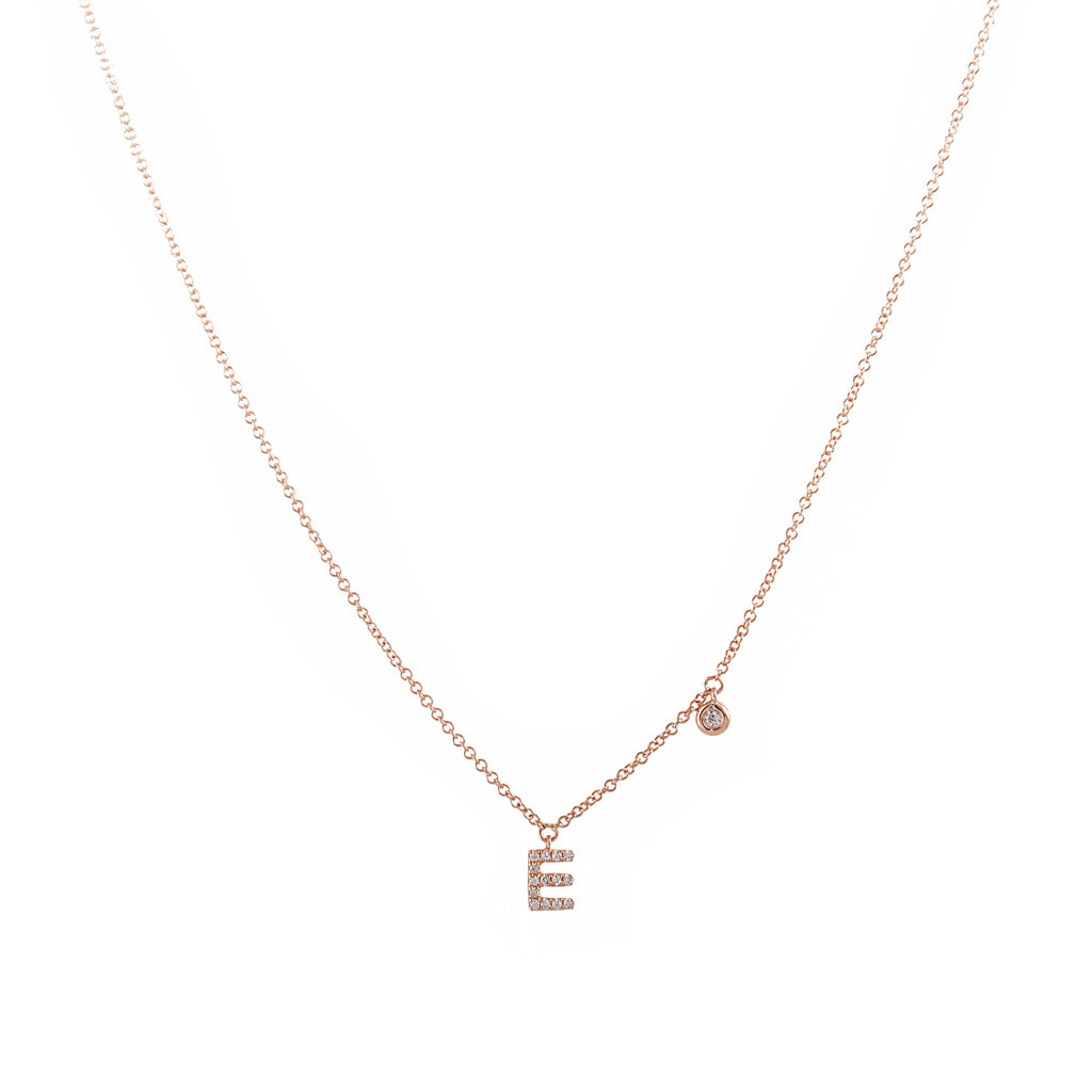 14k gold diamond initial necklace with diamond bezel necklace