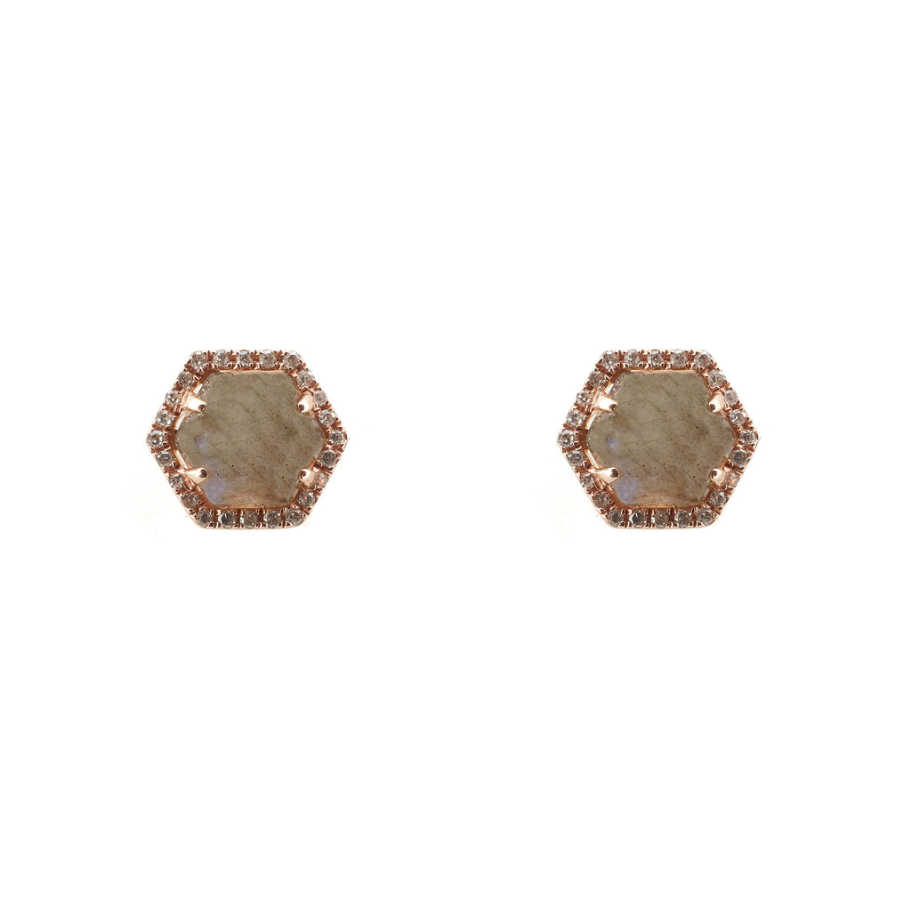 14k gold diamond and labradorite hexagon studs