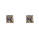 14k gold labradorite and diamond square studs