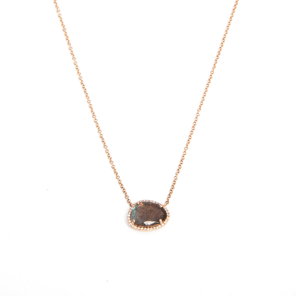 14k gold diamond labradorite necklace