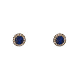 14k gold lapis circle posts