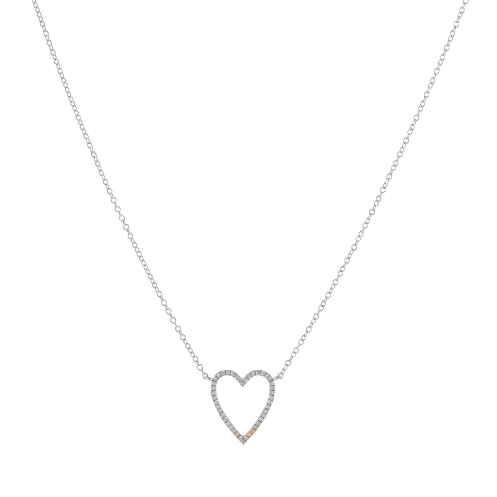 14k gold diamond large open heart necklace