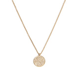 14k gold large diamond disk necklace