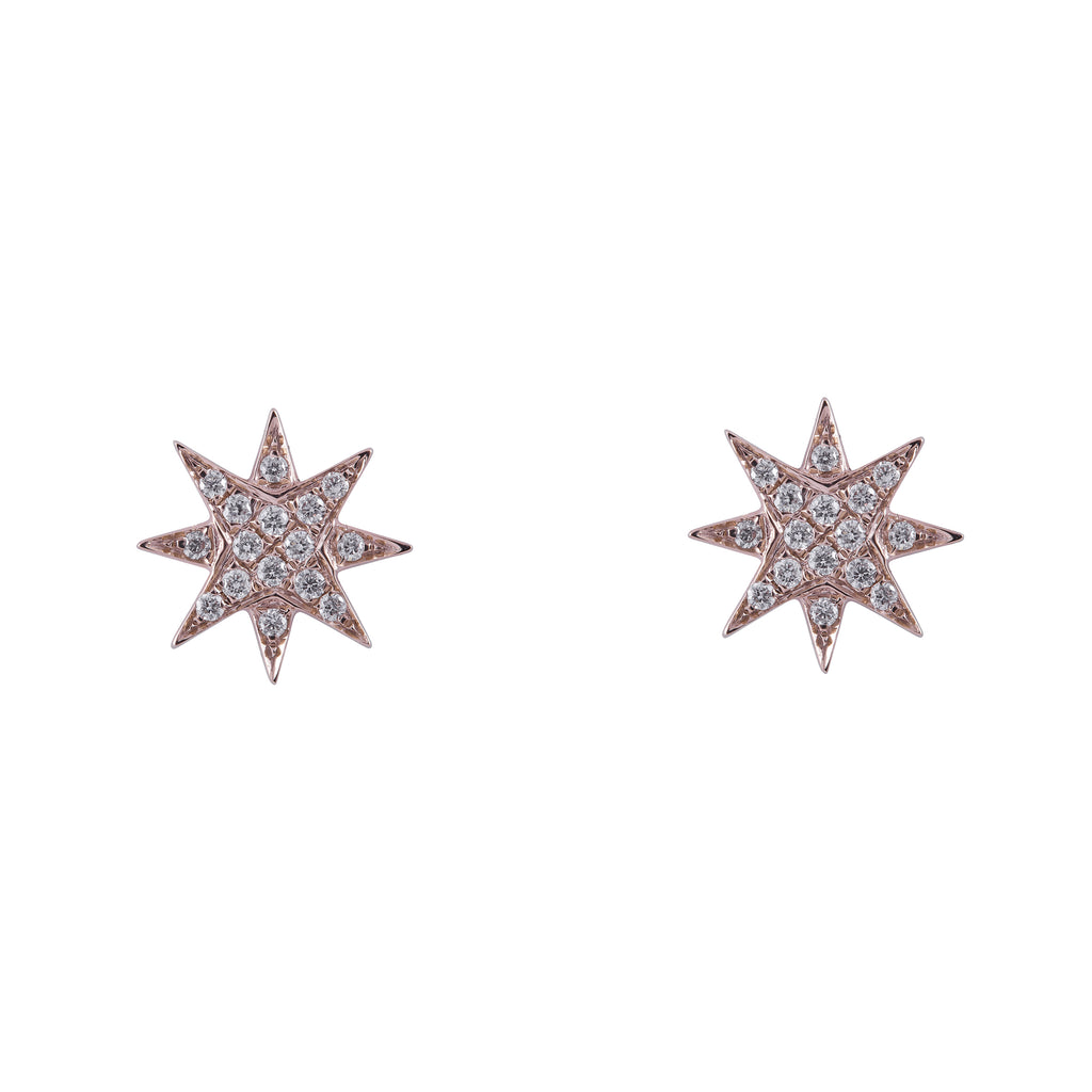 14k gold diamond large starburst studs