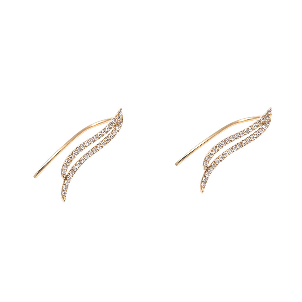 14k gold diamond wing ear crawler