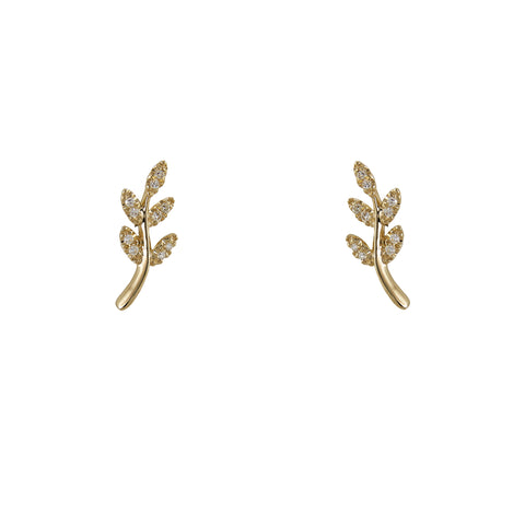 14k gold diamond leaf studs