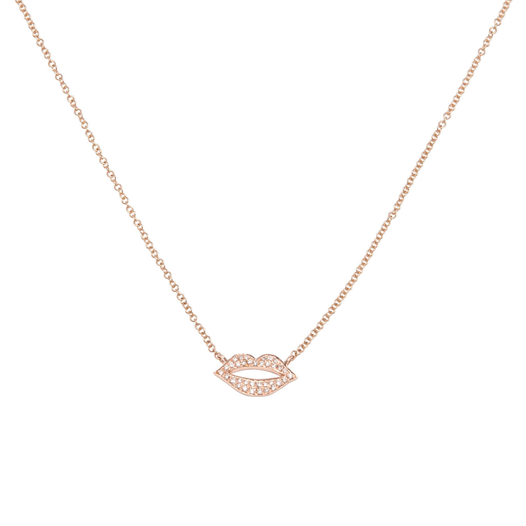 14k Gold Diamond Lips Necklace
