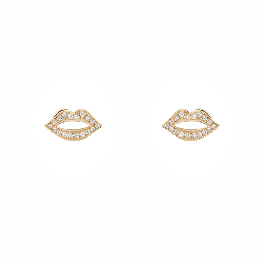 14k gold diamond lips single post