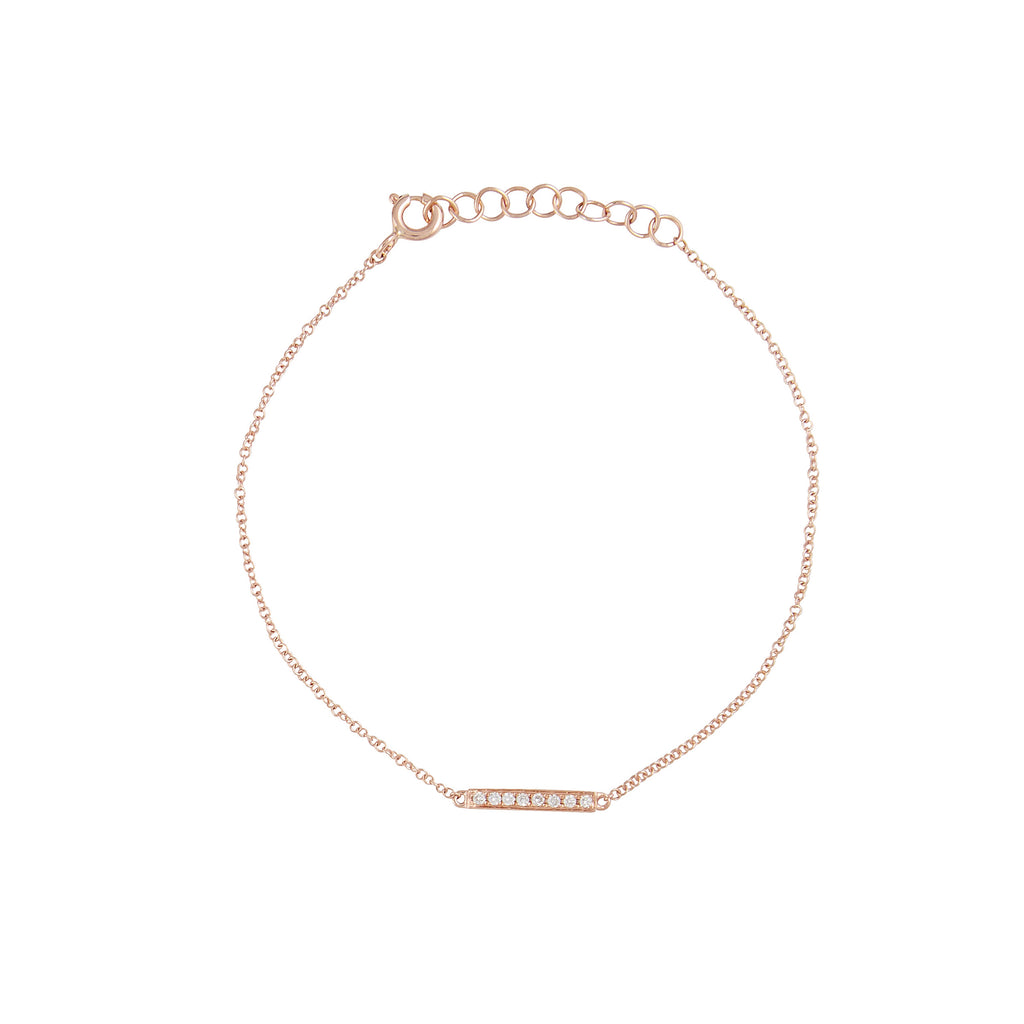 14k gold and diamond little bar bracelet