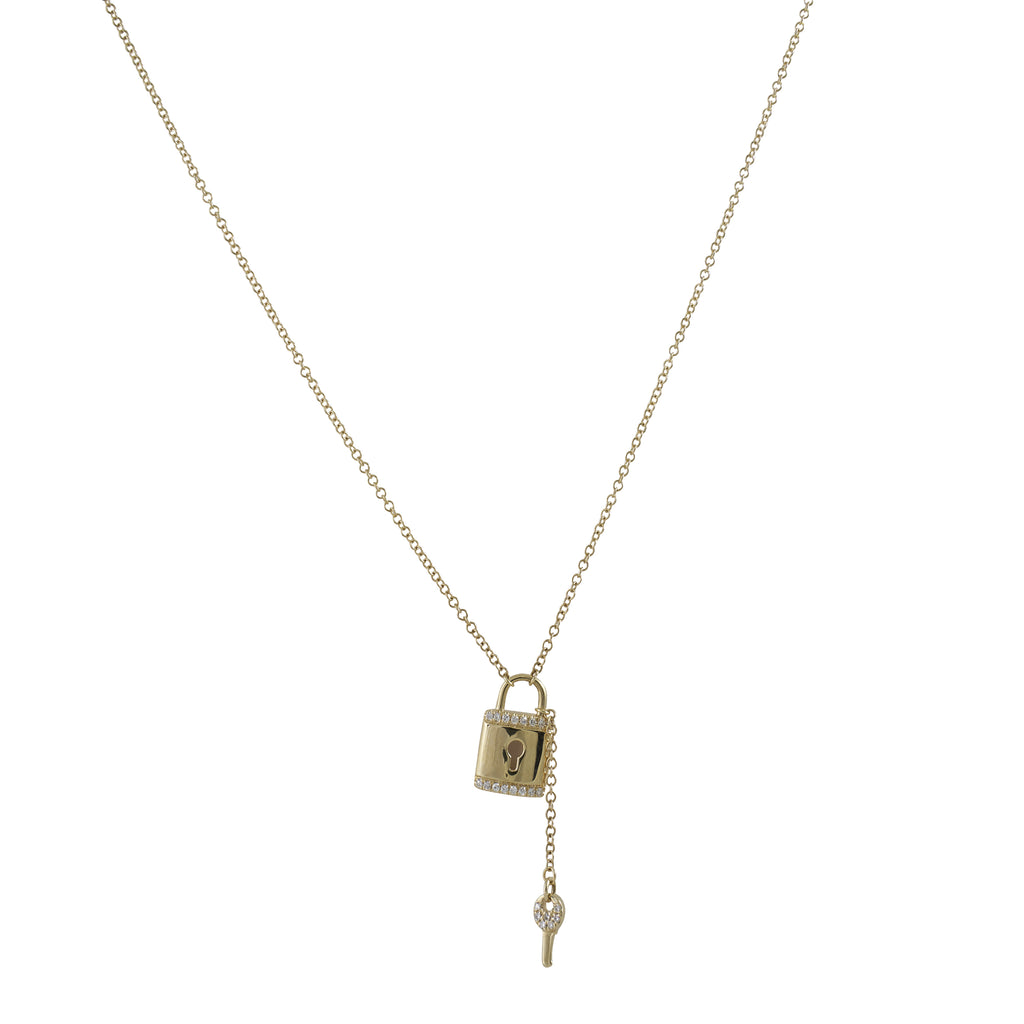 14k gold diamond lock and key necklace