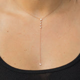 14k gold bezel set diamond lariat