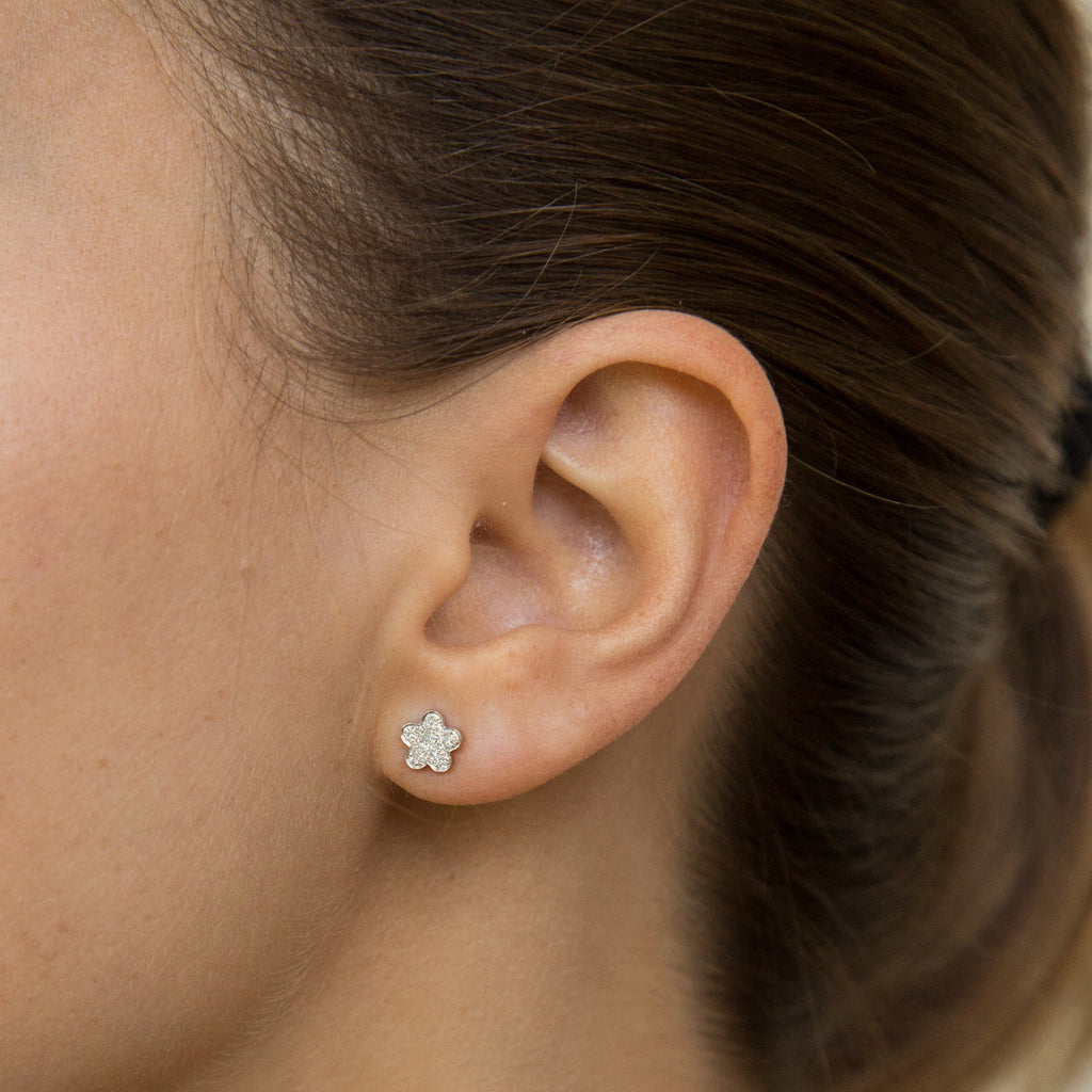 14k gold and diamond mini flower studs