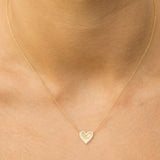 14k gold diamond mirror heart necklace