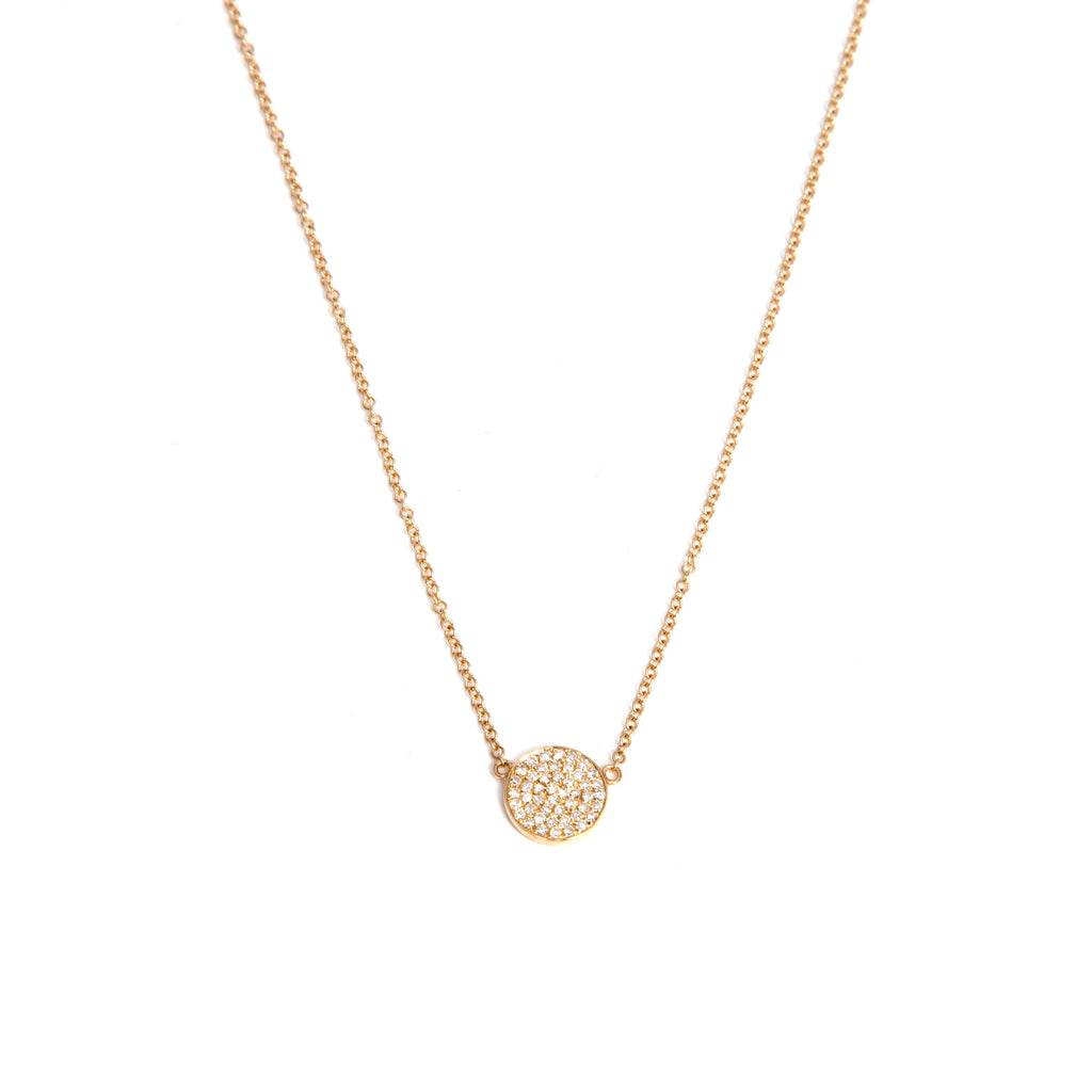 14k Gold Medium Diamond Disk Necklace