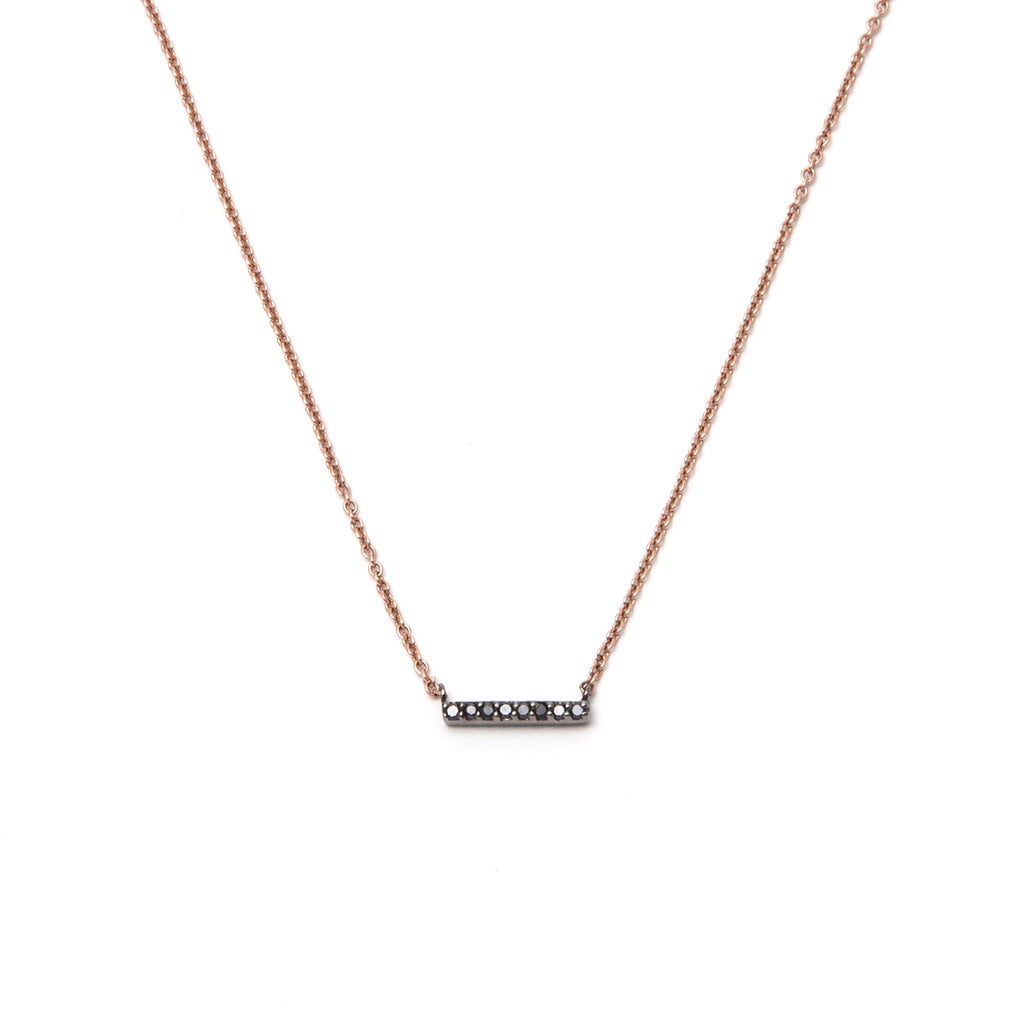 14k gold black diamond small bar necklace