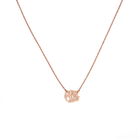 14k gold mini monogram necklace
