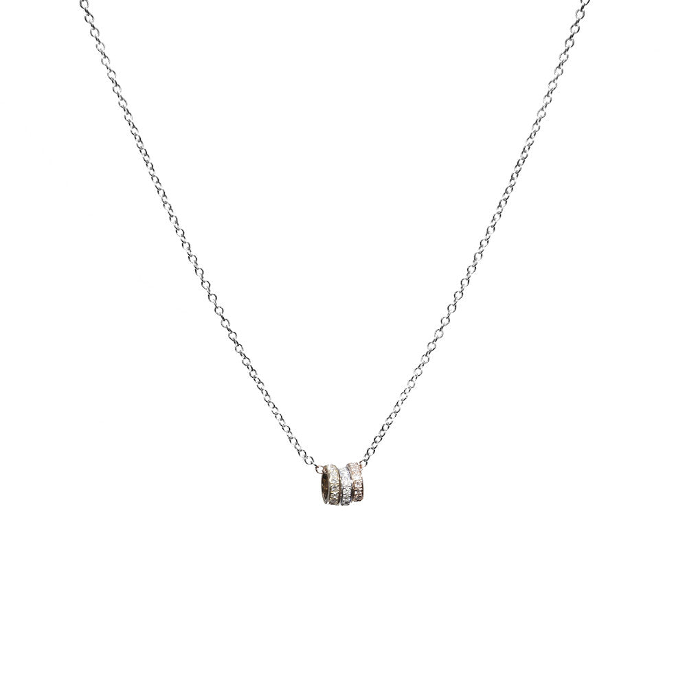 14k tri color gold diamond mini ring necklace