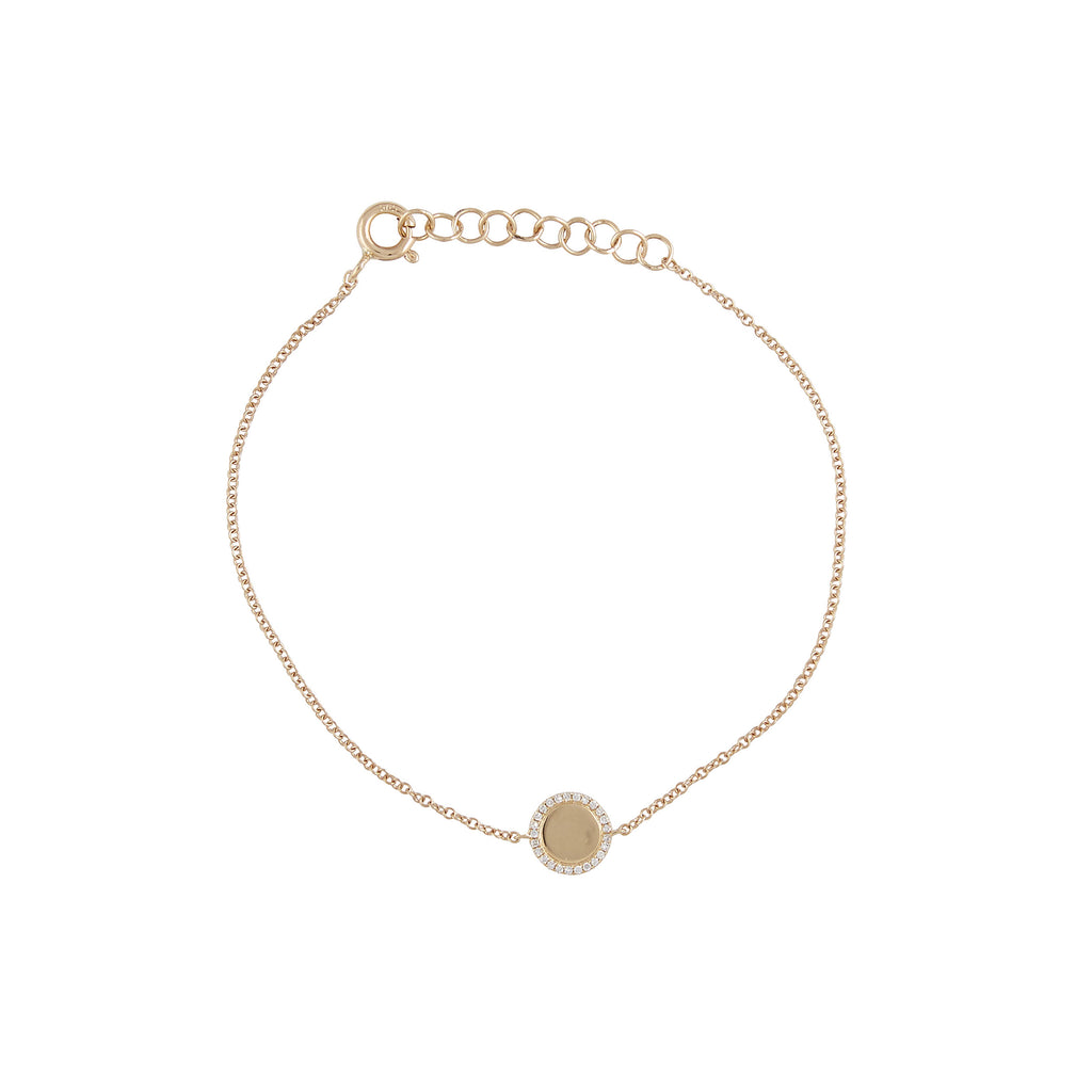 14k gold and diamond disk bracelet