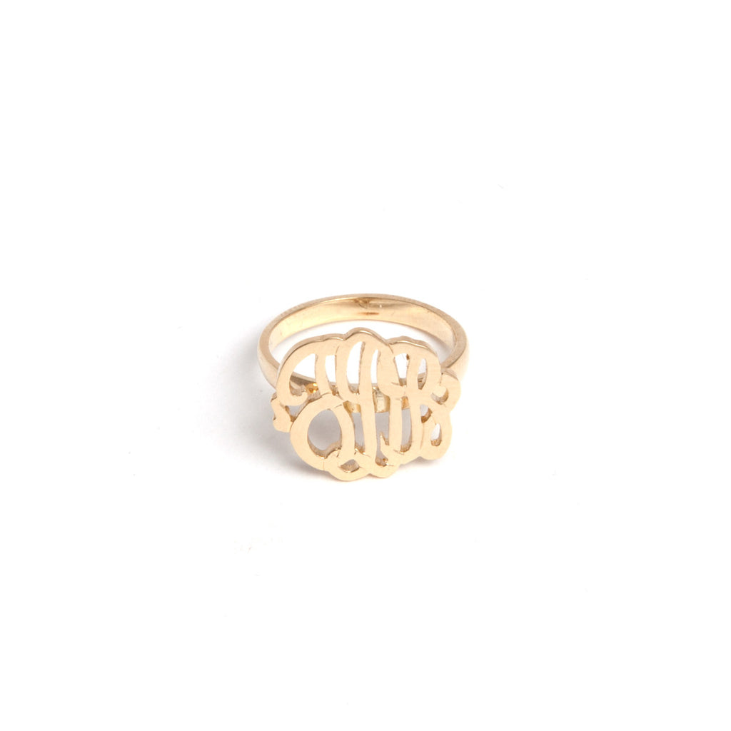 14k gold monogram ring