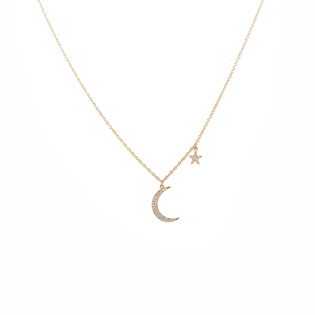 14k gold diamond moon star necklace