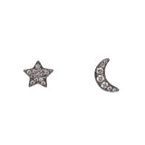 14k gold diamond moon star posts