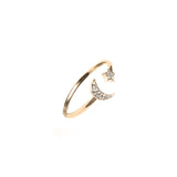 14k gold diamond moon star ring
