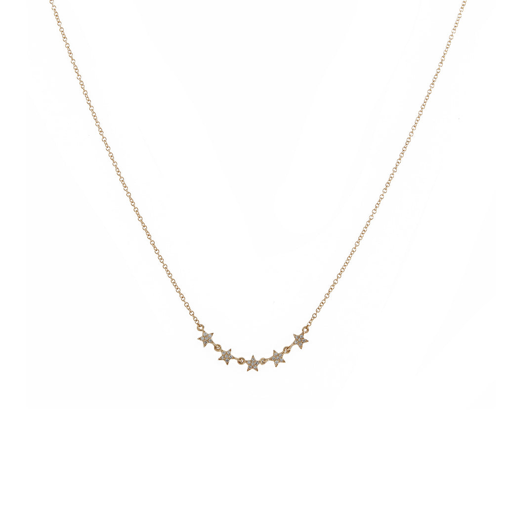 14k gold 5 baby diamond star necklace