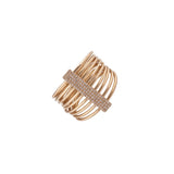 14k gold multi band diamond bar ring